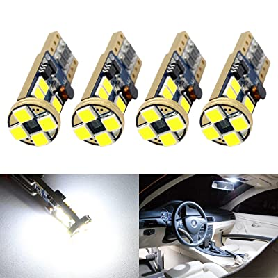 Boodled 4 X T10 W5W Canbus No Error 3030 PX Chipset 12-smd LED Bulbs for 168 194 175 Car Interior Dome Map Door Courtesy License Plate Lights Error Free (No Polarity) (6000K~6500K SUPER WHITE): Automotive