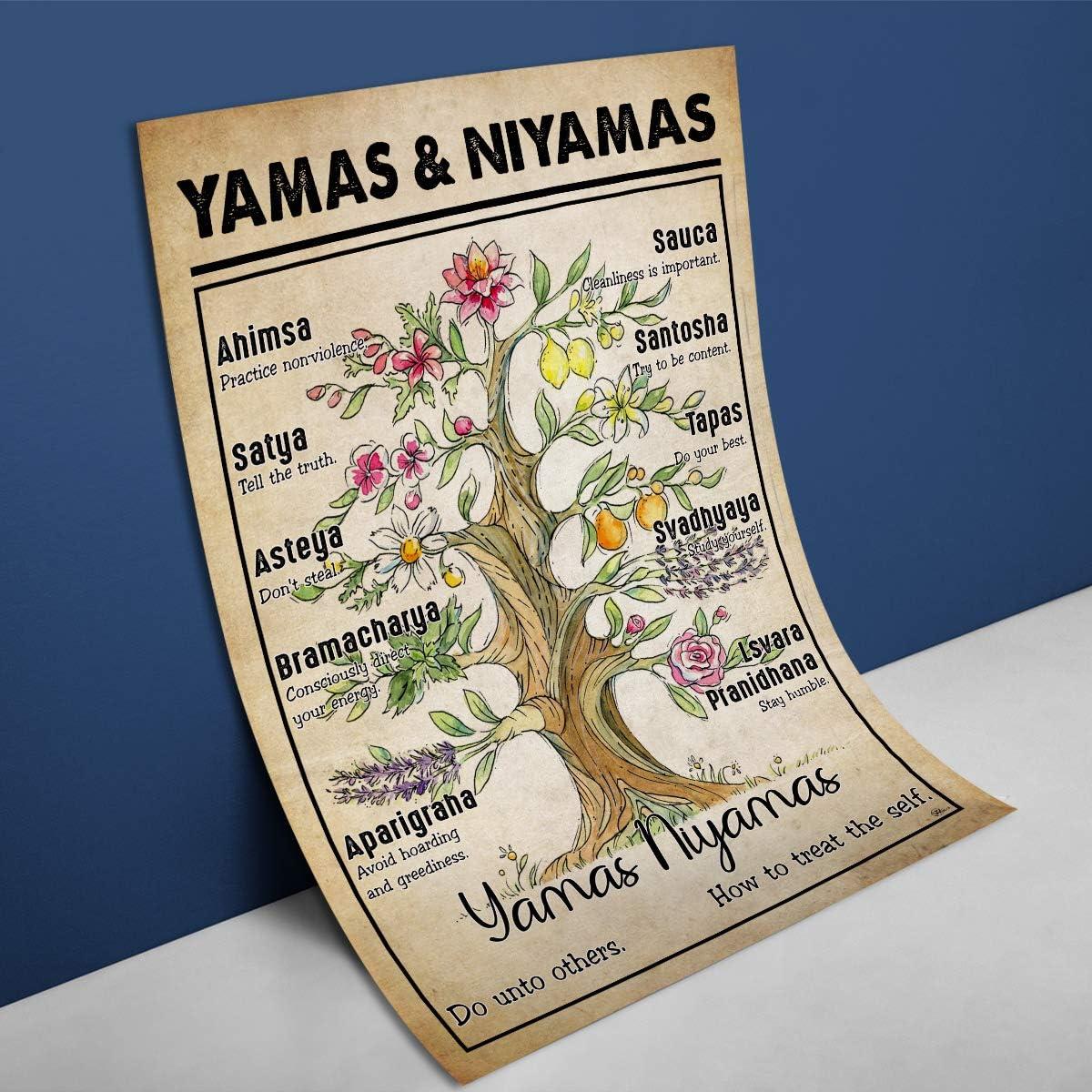 Yamas /& Niyamas Poster Yoga Wall Decor Meditation Poster Mindfulness Art Meditation Art Best Gift For Yoga Lover Tree of Life Poster