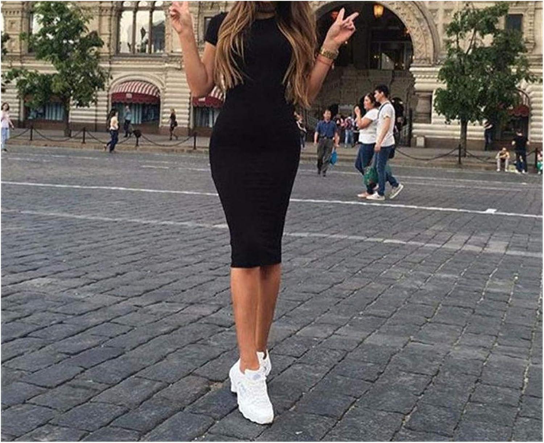 Slim Bodycon Dress Women Solid Color