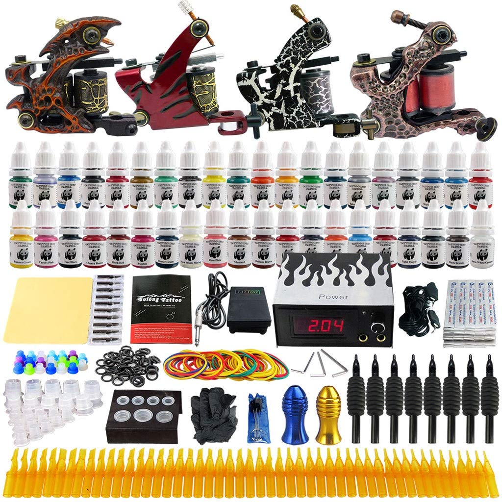 QQYTS Tattoo Machine Four Machine Set Power Coil Embroidery Body Equipment Accessories