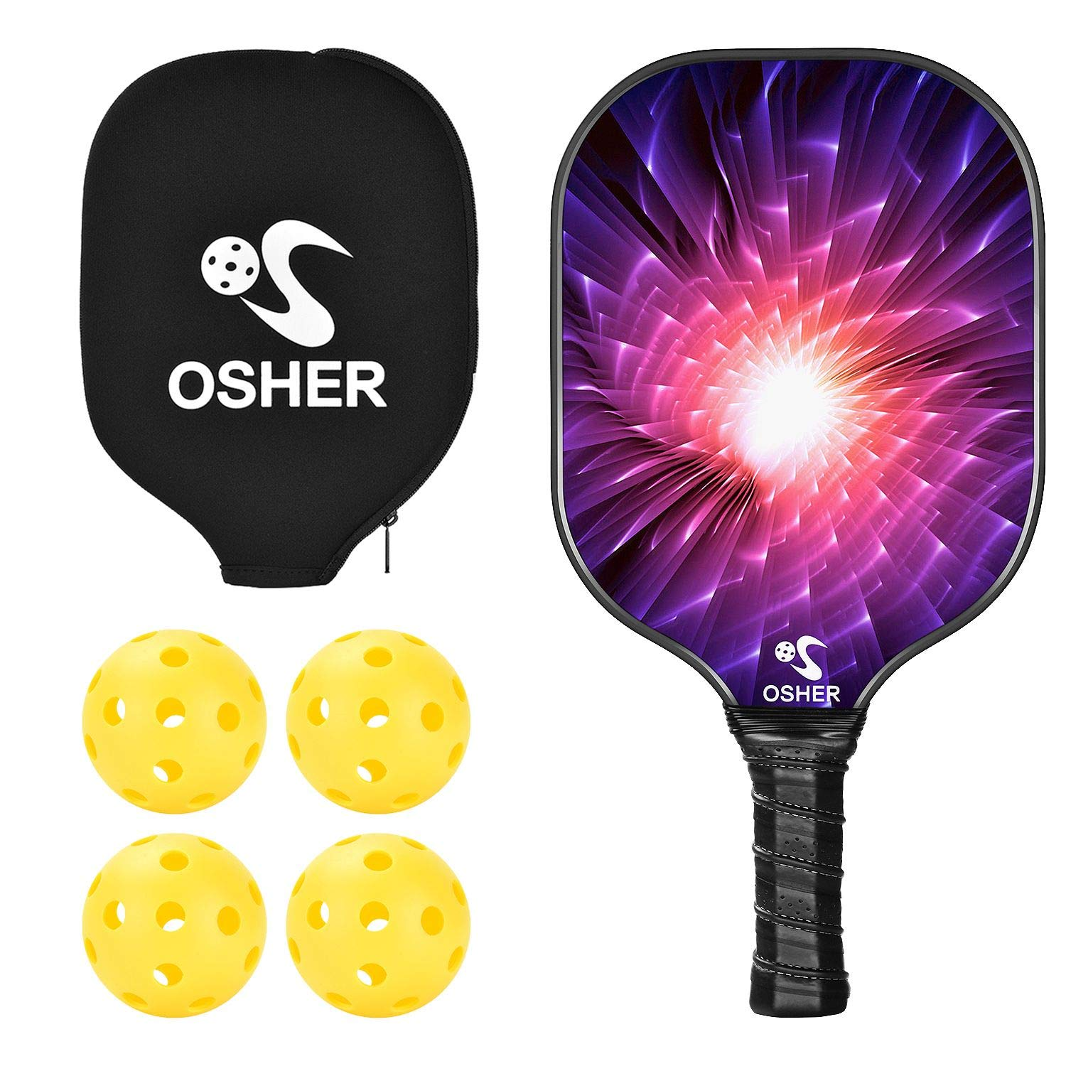 OSHER Pickleball Paddle with 4 Pickballs Pink Graphite Pickleball Racket Honeycomb Composite Core Pickleball Paddle Set Ultra Cushion Grip Low Profile ...