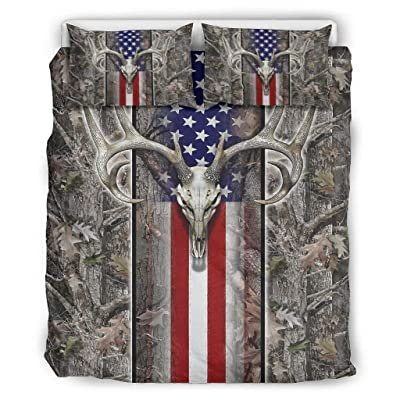 Nanlili American Flag Wood Deer Skull Oak camo Quilt Set Full/Queen Ultra Soft Microfiber 3 Piece Bed Sets for Boys Bedroom White 66x90 inch: Home & Kitchen