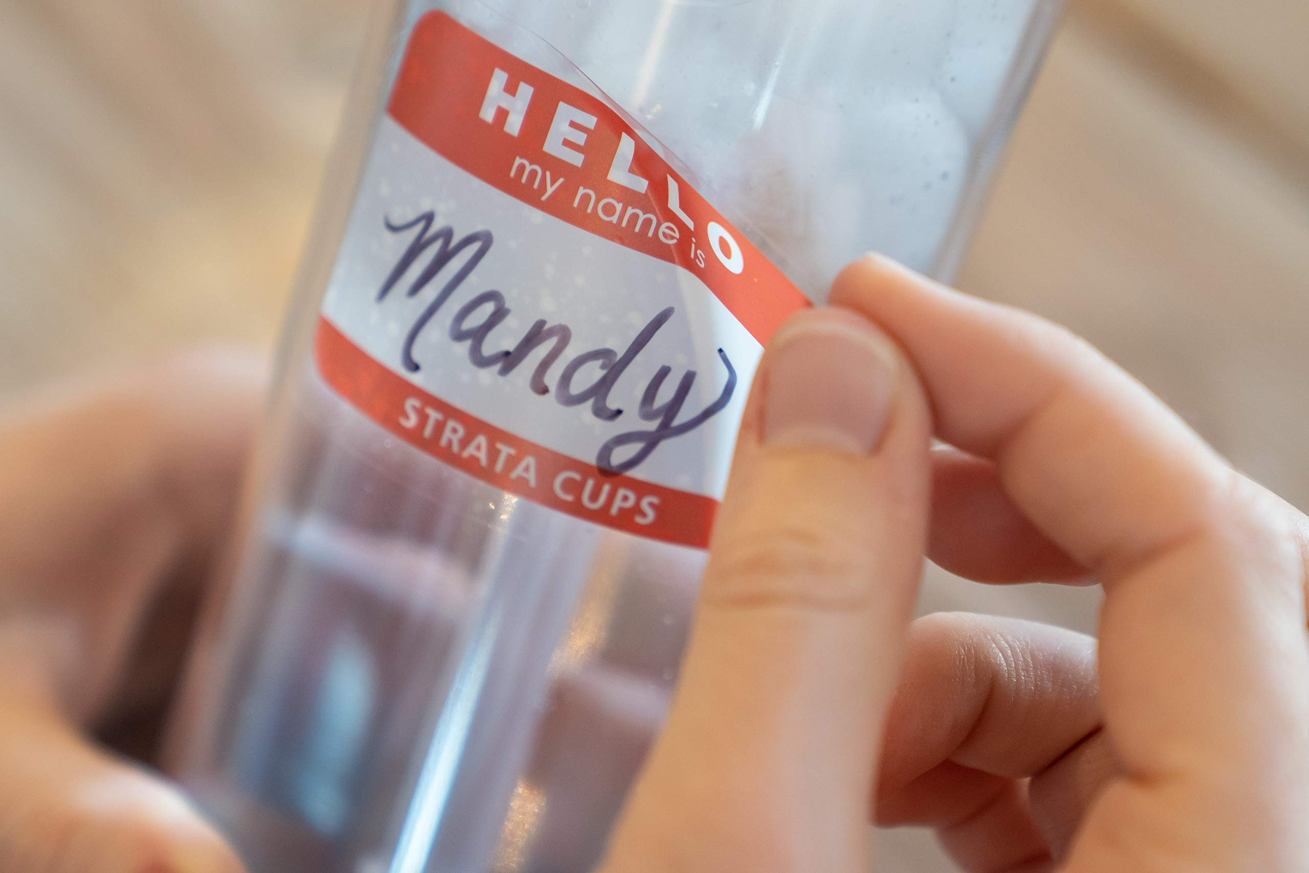Strata Cups Skinny Tumblers Clear Acrylic Tumbler with Lids and Straws | Skinny, 16 ounce Double Wall Clear Plastic Tumblers with Straw cleaner and Name Tags (Clear, 12) by STRATA CUPS (Image #6)