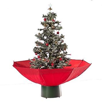 Tannenbaum Der Schneit.Hiskøl Künstlicher Selbstschneiender Weihnachtsbaum Christbaum Tannenbaum Mit Schneefall In 75cm Höhe Mit Rotem Schirm