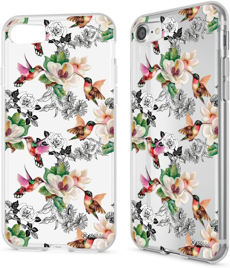 NALIA Case Compatible with iPhone SE 2020/8 / 7, Motif Design Ultra-Thin Silicone Pattern Cover Phone Protector Skin Slim Fit Gel Bumper Protective Anti-Choc Backcover, Motiv:Hummingbird