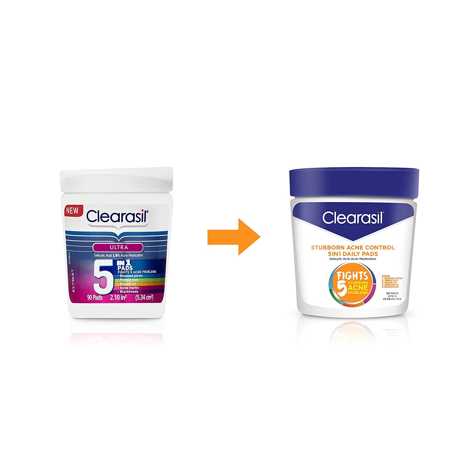 Clearasil Ultra 5-in-1 Acne Medication Pads 90 ea (Pack of 3) Derma E Advanced Peptides & Collagen Moisturizer, 2 Oz