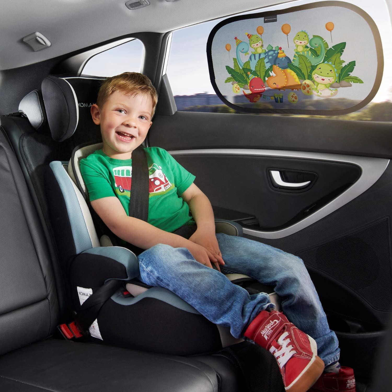 Tendine Parasole Auto Bambini con Simpatici Motivi Set da 2 pezzi Systemoto Parasole Autoadesivo Auto indicato per Neonati con Protezione UV Certificata