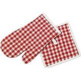 Soleil d'ocre Topflappen und Handschuh Baumwolle Vichy Rot