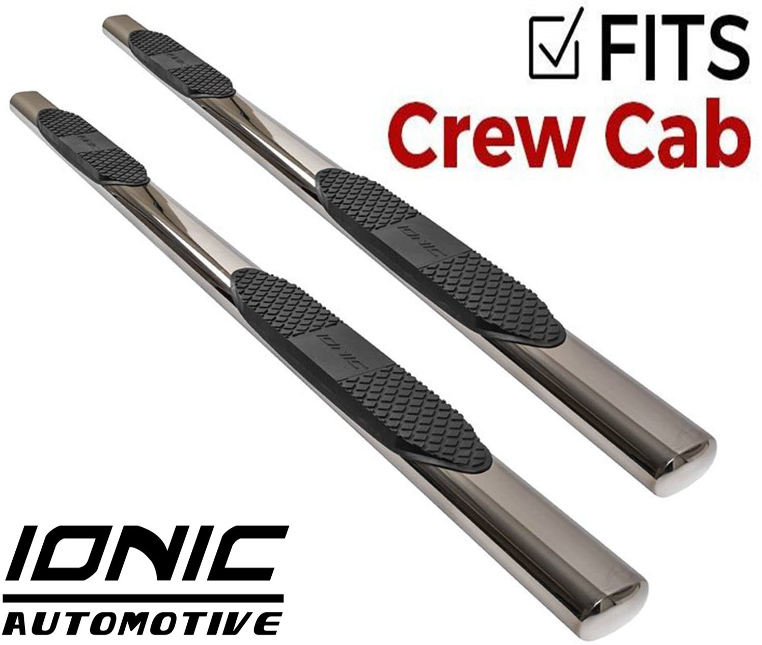 Ionic 5'' Stainless Steel Oval Nerf Bars (fits) 2019-Up Dodge Ram Crew Cab Only Truck Side Steps (423709)