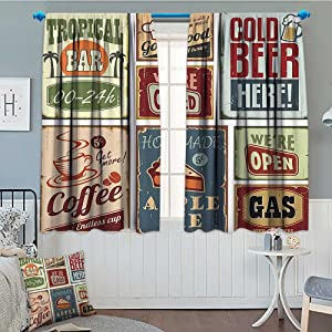 1950s Decor Collection Window Curtain Drape Vintage Style Signs Advertising Beverage Coffee Drink Aged Glass Tropical Logo Print Decorative Curtains for Living Room 52