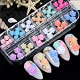 48pcs Flower Butterfly Nail Art Charms Glitter Decals Decoration 3D Nail Flower Flat Design Acrylic Nail Art Stud 2021 for Wo
