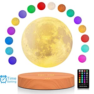 LOGROTATE Magnetic Levitating Moon Lamp, 3D Printing Moon Light with Remote Control & Wooden Base, 6 in Night Light for Home, Office Decor, Creative Gift for Christmas (Light Brown Base - 16Colors)