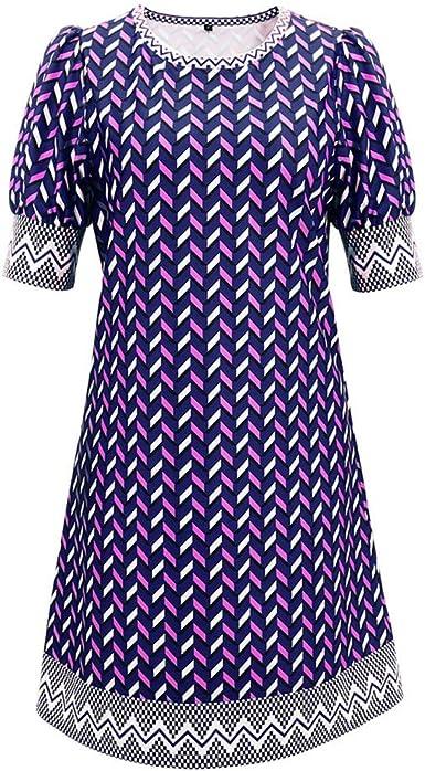 Bahoto Nuevo Vestido De Cuello Redondo De Verano para Mujer Falda ...