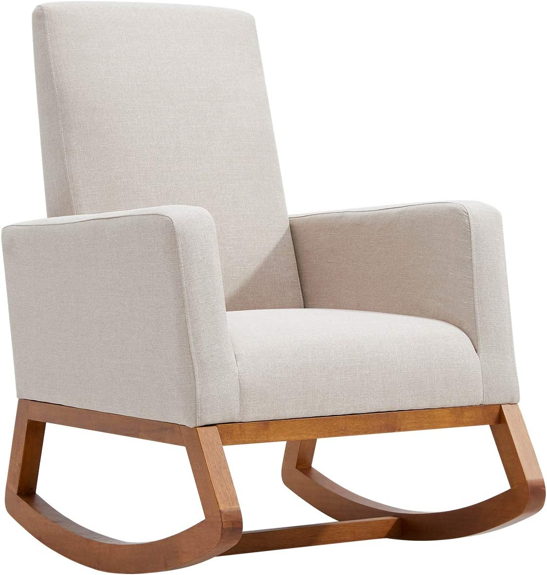 YOLENY Rocking Chair,Mid Century Accent Chair,Glider Rocker with Ottoman,Seat Wood Base,High Back Linen Armchair,Beige