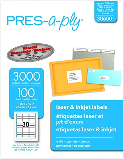 Amazoncom PresAPly Laser Address Labels X White - Pres a ply label templates
