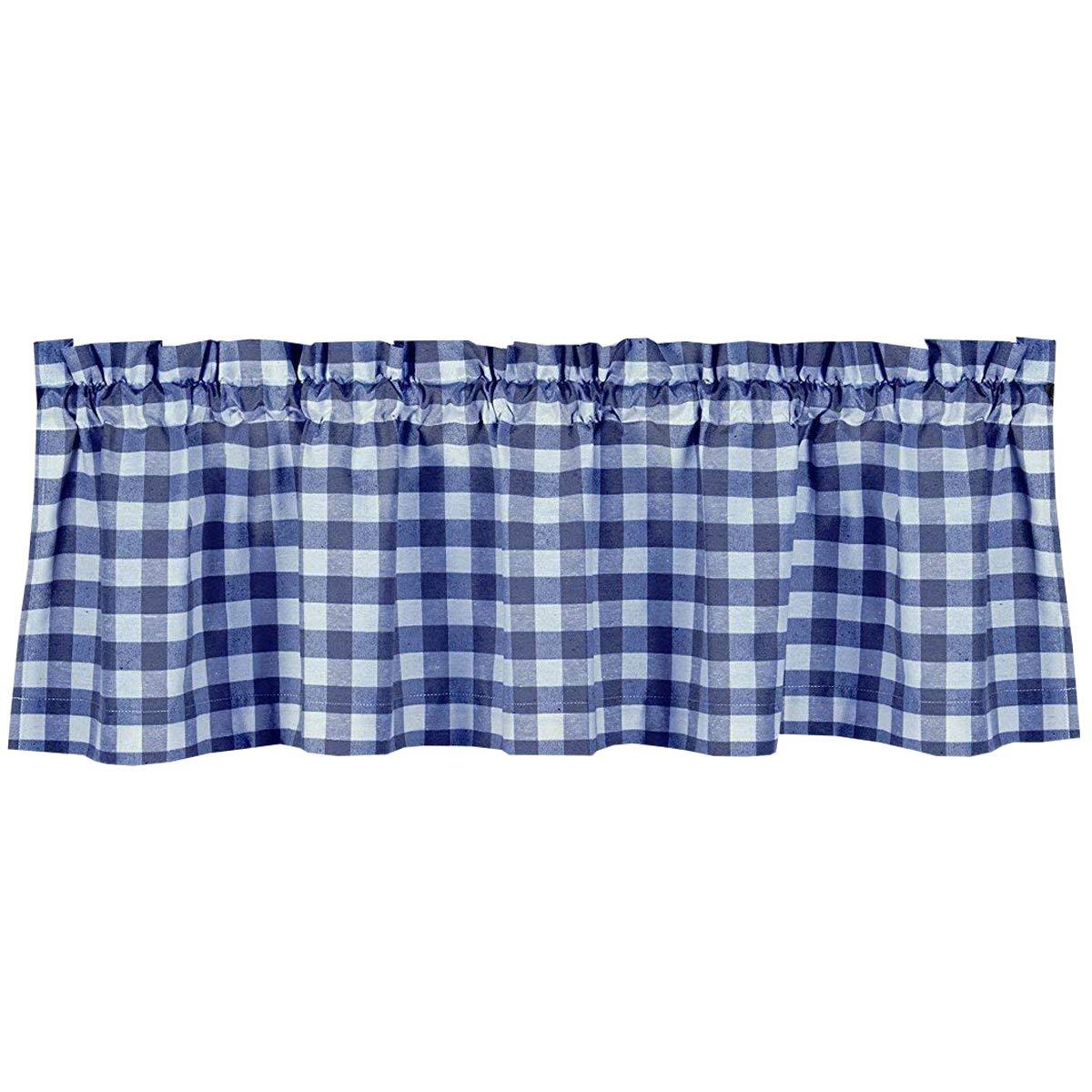 lovemyfabric Poly Cotton Gingham Checkered Plaid Design Kitchen Curtain Valance Window Treatment-Royal Blue