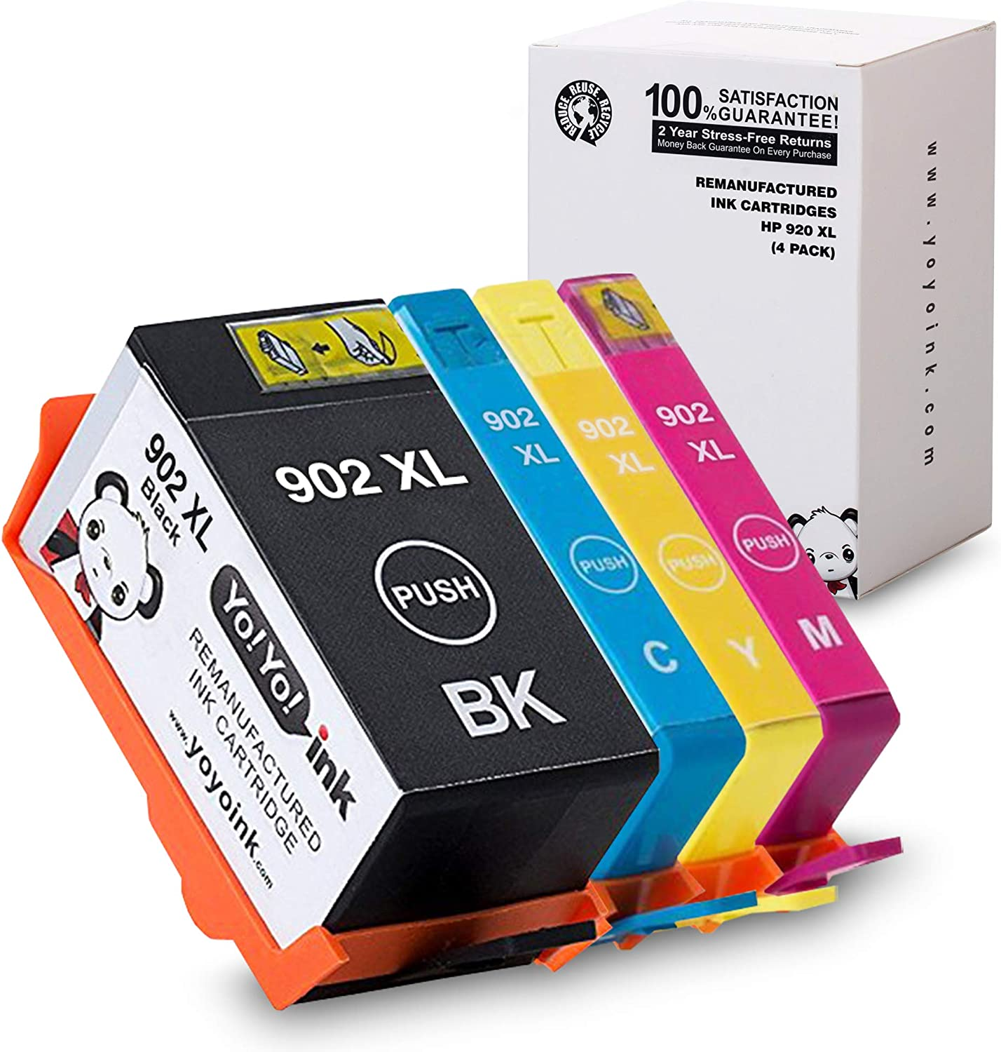 YoYoInk Remanufactured Ink Cartridge Replacement for HP 902 XL 902XL HP902XL (4 Combo Pack) Use with HP Officejet Pro 6978, 6968, 6962, 6958, 6970, 6975, 6954, 6950 Printers (1 Black, 3 Color)