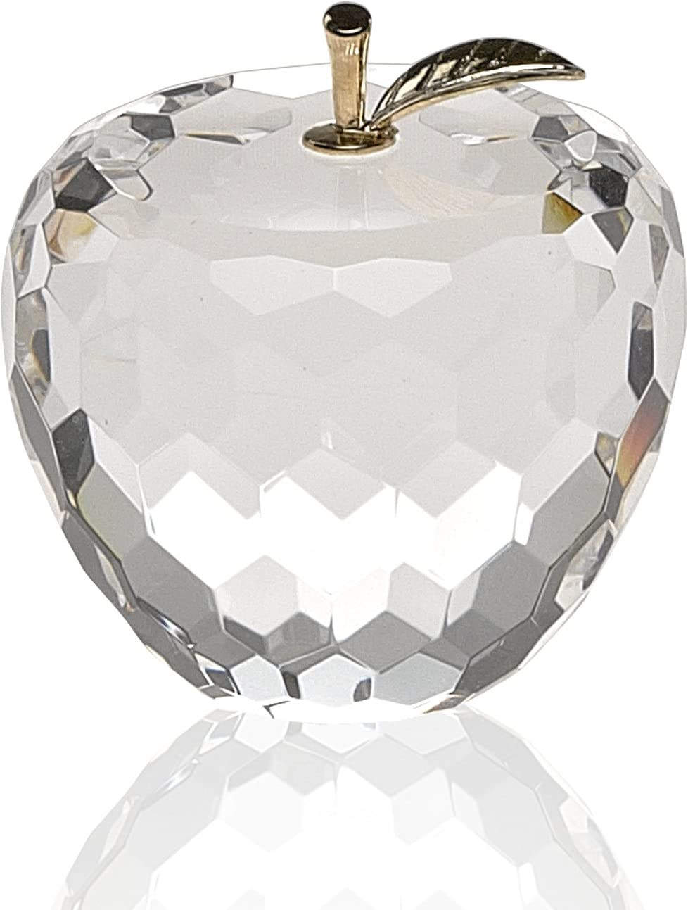 Badash Faceted Crystal Apple Paperweight H2.5 with Gold Stem