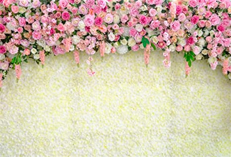Leyiyi 10x8ft Romantic Wedding Rose Wall Backdrop Spring Flower Blossom Marriage Floral Window Curtain Background Garland Engagement Bridal Shower