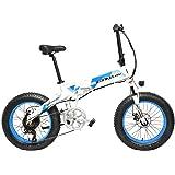 LANKELEISI X2000 20 Pulgadas Bicicleta Grasa Plegable Bicicleta Eléctrica 7 Velocidad Bicicleta de Nieve 48V 12.8Ah 500W Motor 5 Pas Bicicleta de Montaña