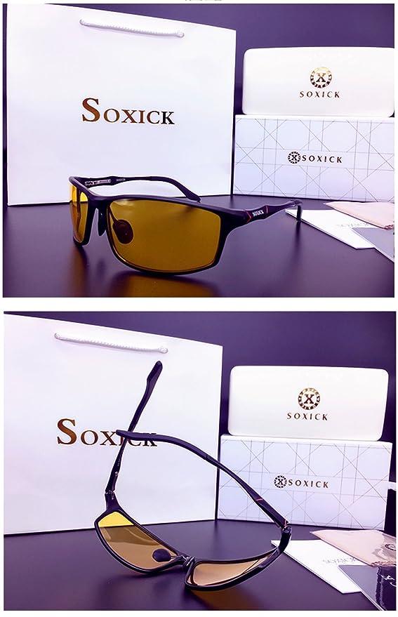 Soxick Hombre HD polarizadas Gafas de conducción Nocturna antideslumbrante Gafas de Seguridad, Negro Marco/Yellow Lens-3: Amazon.es: Deportes y aire libre