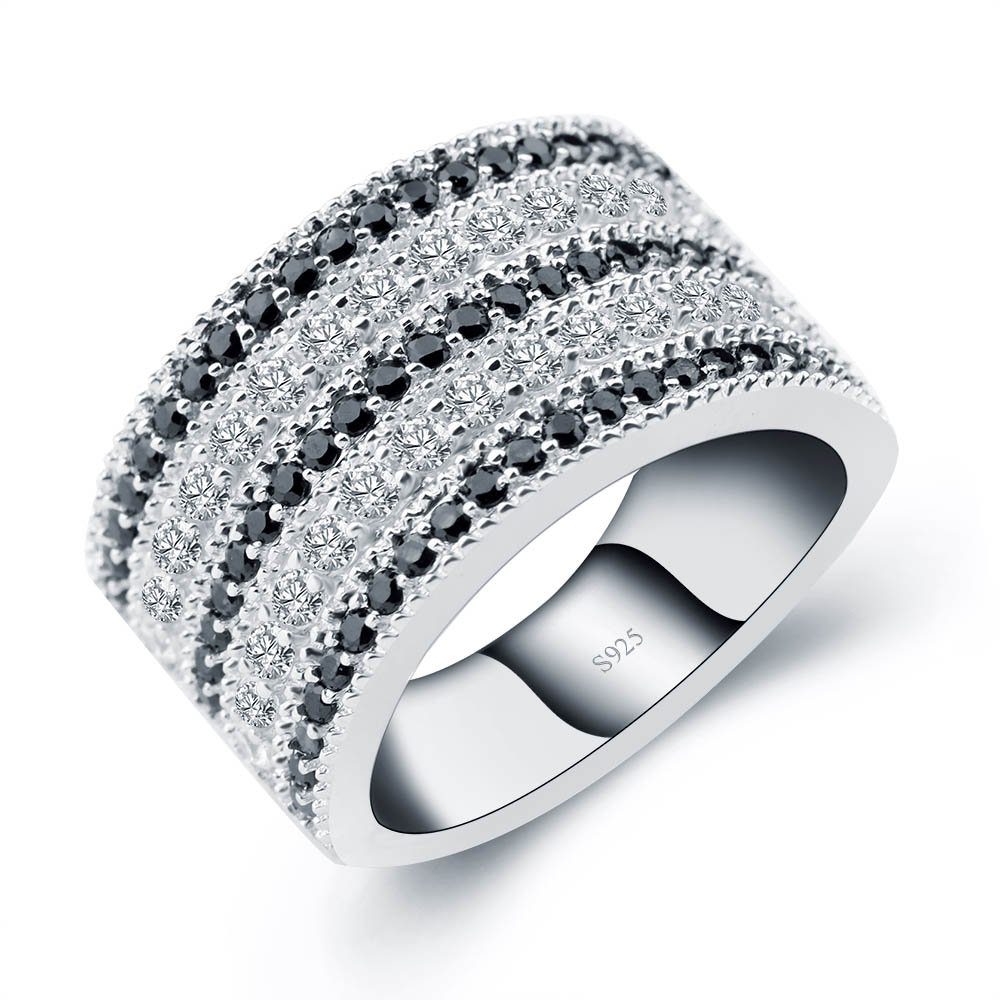 ANGG Black And White Cubic Zirconia Simulated Diamond Vintage 925 Sterling Silver Ring Size 8