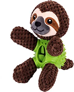MeowWang Dog Treat Dispensing Plush Toys Interactive Chew Stuffed Food Toys Sturdy Squeaky Puzzle Feeders for Dogs for Medium Dog Puppy Small Large Dogs Suitable for Aggressive Chewers (Sloth)