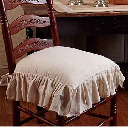 Perfect Flax Ruffled French Country Chair Pad