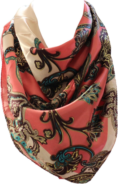 Vibrant Paisley Print Silk Satin Bandana Square Neck Scarf Head Scarves Blue