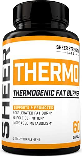 THERMO Fat Burner 60ct – Thermogenic Weight Loss Supplement for Women Men – Yohimbine, Green Tea Extract, More – Non-GMO Diet Pills – Sheer Strength Labs – Packaging May Vary
