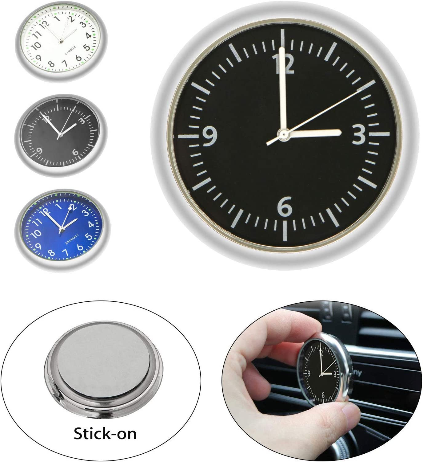 Details about  /Luminous Interior Portable Stick On Self Adhesive Analog Car Clock Decoration