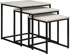 Abington Lane 3-Piece Nesting End Table Set – Modern End Table for The Contemporary Home (Heathered Wood Finish)