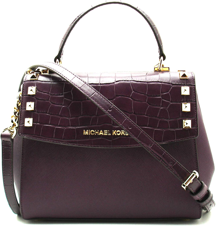 Michael Kors Karla Women's Medium Leather Satchel Crossbody Bag Purse Handbag
