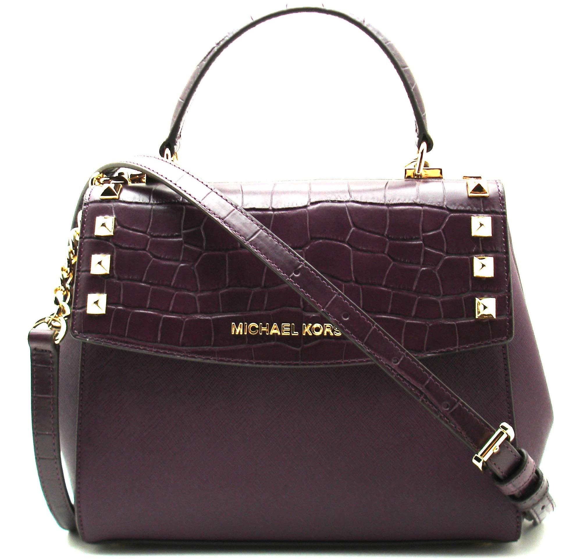 Michael Kors Karla Women's Medium Leather Satchel Crossbody Bag Purse Handbag (Damson)