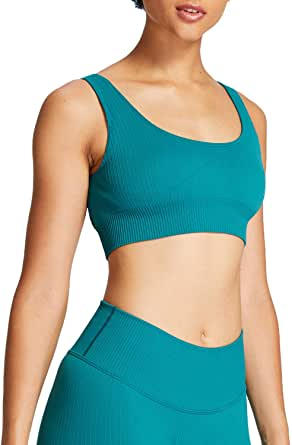Aoxjox Ribbed Seamless Sports Bra for Women Medium Support Gym Yoga Seamless Workout Top
