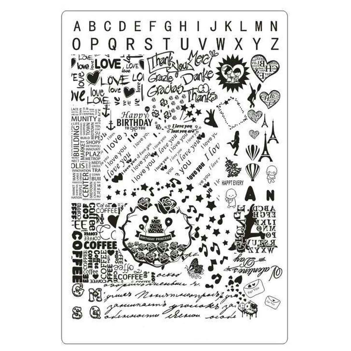 XXL Texto esmaltes Plantilla Letras LOVE PARIS placa # 2 Lovenails