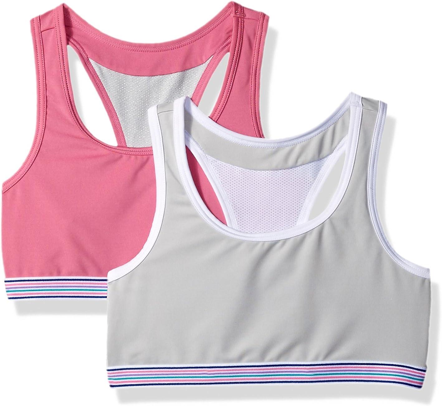 Hanes Girls Comfort Flex Fit Wide Strap Seamless Racerback 2-Pack Training Bra