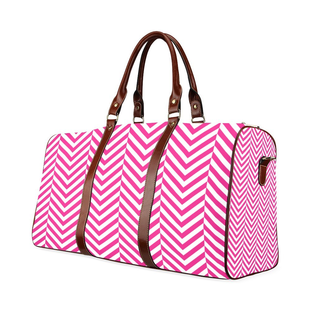 Hot Pink And White Classic Chevron Pattern Custom Waterproof Travel Tote Bag Duffel Bag Crossbody Luggage handbag