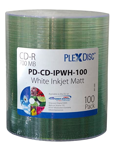 PlexDisc 52x 700 MB Inkjet superficie imprimible CD-R paquete de ...