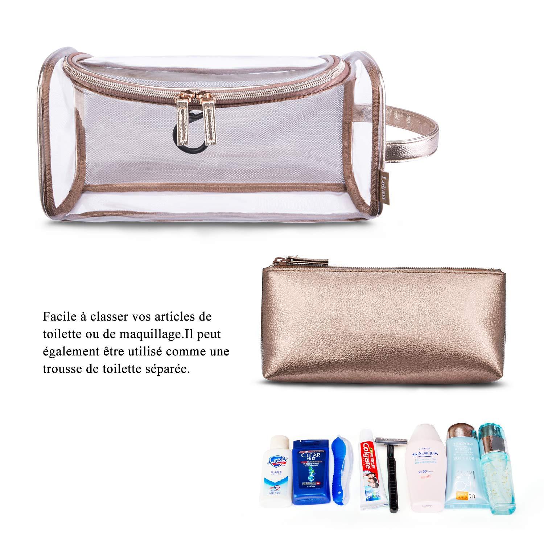 2fb39640b0 Srotek Trousse de Maquillage Transparent Trousse de Toilette en PVC et Cuir  pour Femmes Fille Ado Sac Cosmétique de Voyage Portable Pochette de ...