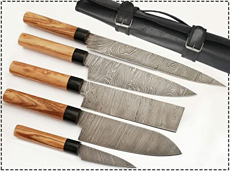 G15- 5 pcs Professional Kitchen Knives Custom Made Damascus Steel 5 pcs  Professional Chef Kitchen Knife Set Round Wood Handle with 5 Pocket Case  Chef ...