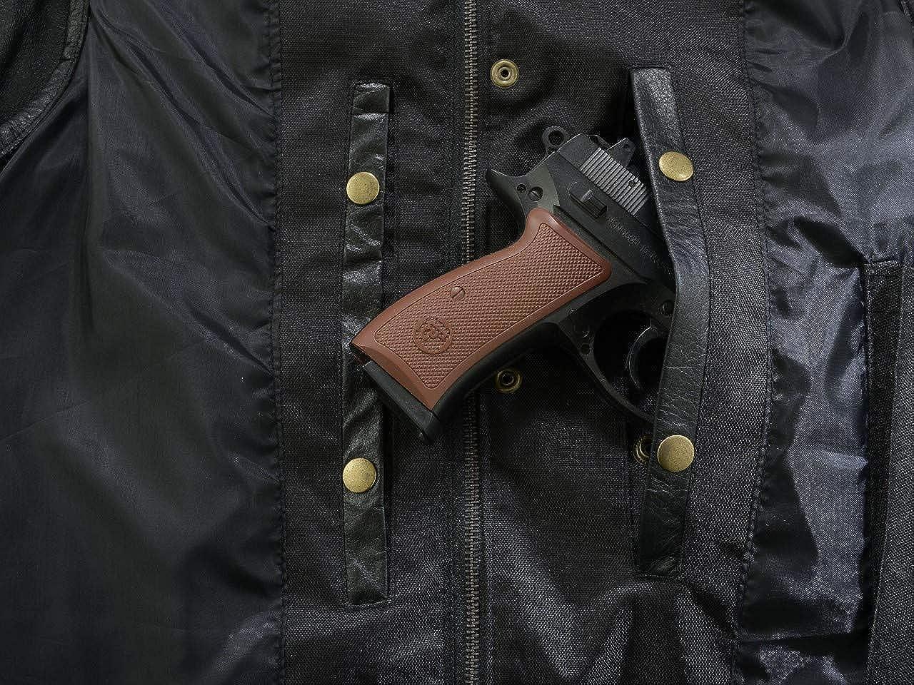 RUBSONS Gilet DE Moto SOA en Cuir avec Deux Pistolet Poches /À LINT/ÉRIEUR ET Un Panneau ARRI/ÈRE