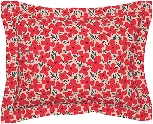 Abstract Poppies Red Floral Blush Flowers Botanical Pillow Sham by Roostery
