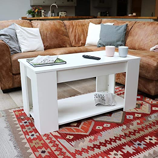 Wido Extendable Lift Top Coffee Table With Storage Shelf In Black