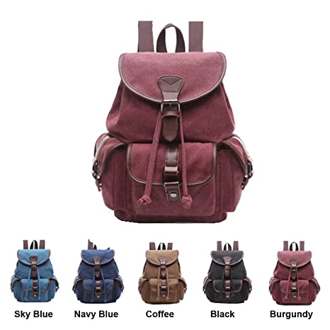 Amazon.com  Queenie - Canvas Causal Daypack Laptop Backpack College ... cb9f7269de006