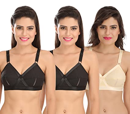 3a8395f2f1 Sona Perfecto Women Plus Size Cotton Bra- Full Coverage Non Padded Pack of  3 Size