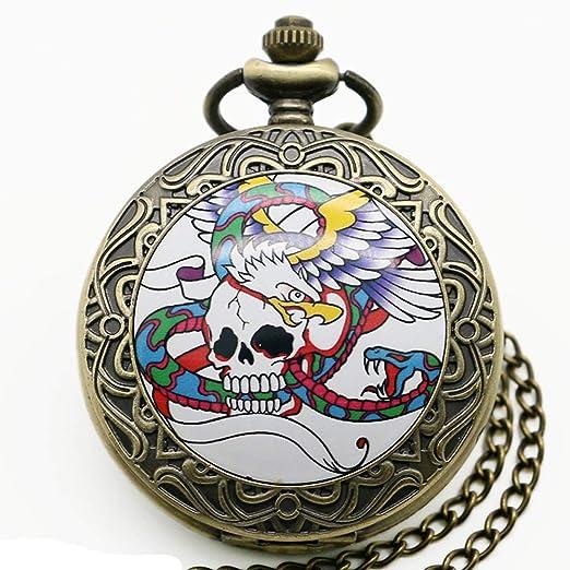 Reloj de bolsillo para hombre, diseño moderno punk bronce calavera águila serpiente colgante reloj de bolsillo calavera reloj de bolsillo: Amazon.es: ...