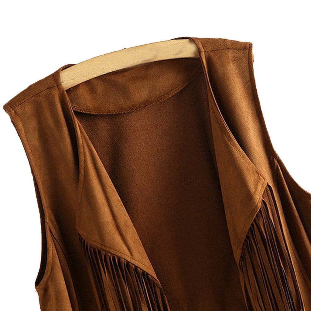 Ropa de Abrigo Mujer Chaqueta de Mujer Faux Suede Ethnic Sleeveless Tassels Chaleco con Flecos Chaleco Mujeres Damark TM