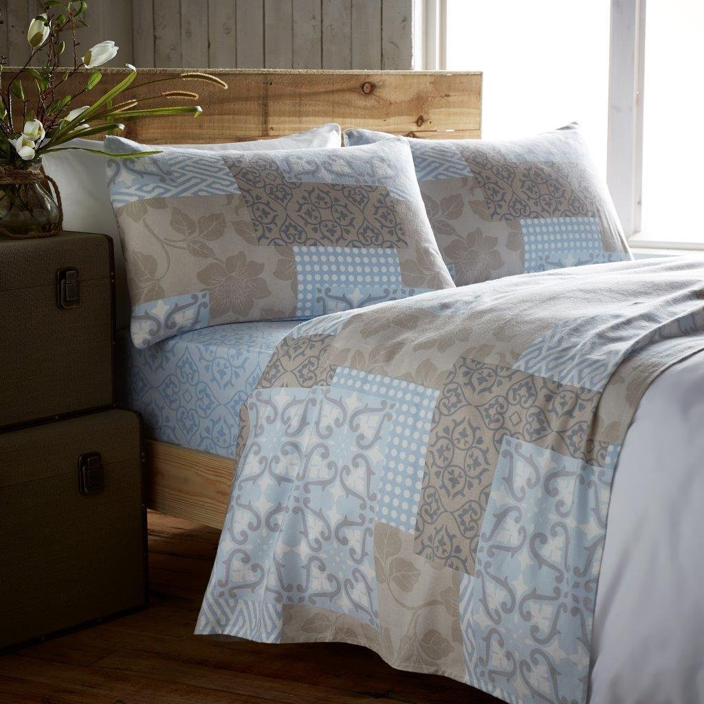 Flannelette Sheet Set Double Bed With Pillowcases Bedding Set 100% Cotton Includes 1 Fitted Sheet + 1 Flat Sheet + 2 Pillowcase, Vista Blue De Lavish