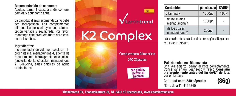 Vitamina K2 MK-7 y MK-4 - Vitamina K2 Complex 1250µg - 240 ...